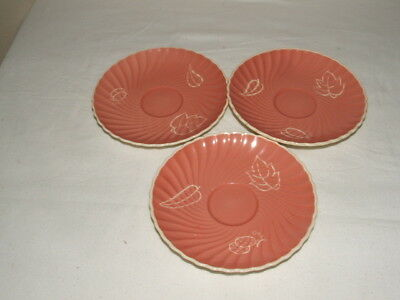 Susie Cooper Art Deco Rare Pink Fruits 3 Saucers Truly Stunning