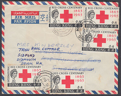 1963 Hong Kong to Singapore (Backstamp) redirect Sidford,Sidmouuth,Devon;Airmail