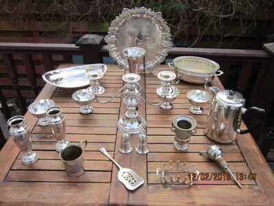 Vintage Retro Job Lot Assorted Silver Plated Dishes Bowls Tray & More