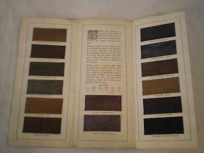 ANTIQUE GLIDDEN VARNISH COLOR STAINS SAMPLES on ACTUAL WOOD ADVERTISING PAMPHLET