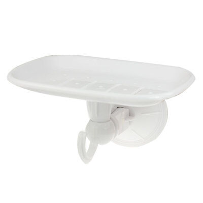 Suction Cup Mount Plastic Ventilated Base Soap Dish Holder Tray