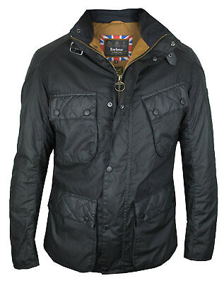 Barbour International wachs-jacke Selkirk Wax Black with Quilt Pattern
