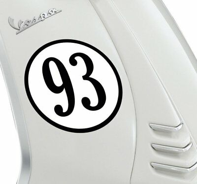 Customisable Round Number Vespa Style MOD Sticker Decal Scooter Motorbike