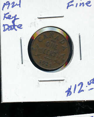 1924 Key Date Canada Small Cent F D417
