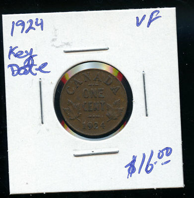1924 Key Date Canada Small Cent VF D419