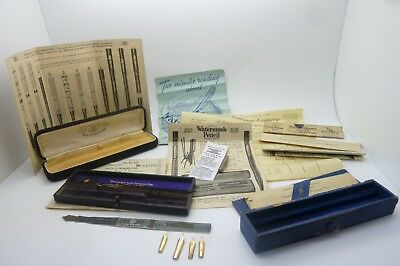 Antique Vintage Watermans Lot Of Instructions, Boxes, Catalogue, Nibs & Bookmark