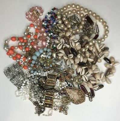 Large 2lbs + Lot of Vintage Costume Jewelry Necklaces Bracelets etc Junk Drawer