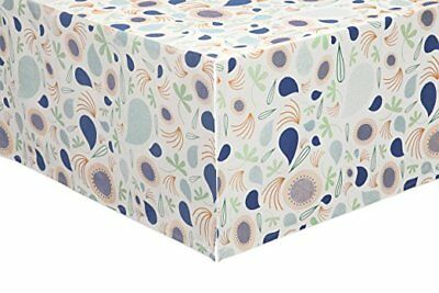 Babyletto Crib Skirt, Fleeting Flora, Blue and White - B