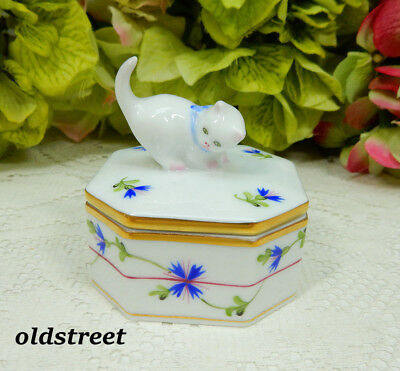 Herend Hungary Porcelain Blue Garland Trinket Box ~ Cat ~ Kitten ~ Gold