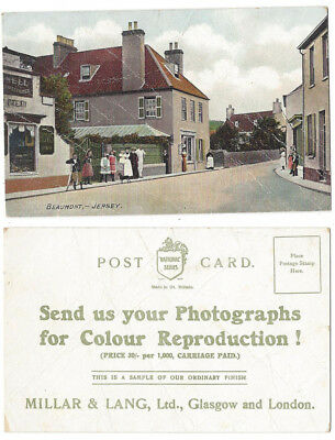 JERSEY Beaumont, Old Advertising Postcard by Millar & Lang