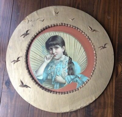 """Antique Victorian Sea Gull~ Shells ~Young Girl Smoking~beach PICTURE FRAME 20"""""""