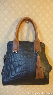 aeb54595b5 BCBGMAXAZARIA Large! BLACK Quilted Leather Domed Satchel Tote Bag Carryall  Purse