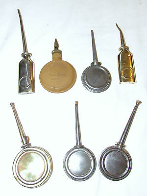 Small lot of 7 vintage oil cans old oil cans used vintage tools oilers