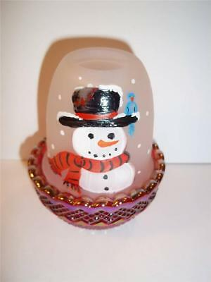 Mosser Glass Christmas Snowman Blue Jay Ruby Red Carnival Base FAIRY LIGHT LAMP