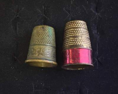 Vtg ANTIQUE Art Deco or Victorian Lot of 2 Thimbles sewing quilting