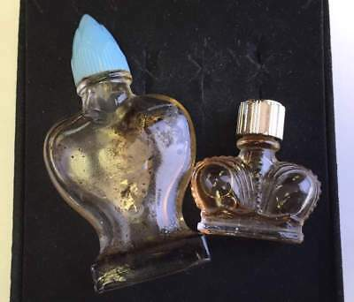 Vtg ANTIQUE Art Deco or Victorian Lot of 2 Perfume Bottles Small Glass