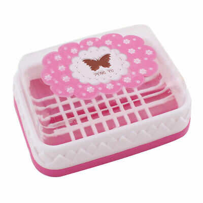 Plastic Butterfly Pattern Rectangular Design Soap Case Box Holder Container Pink