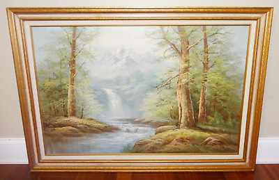 Vintage Large Oil On Canvas Mountain Forest Waterfall Landscape Painting Signed