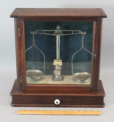 Antique 19thC Reinhardt Scientific Gold Balance Scale Walnut & Marble Case, NR