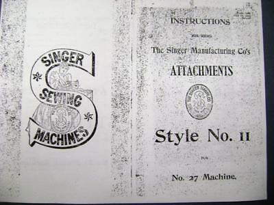 1905 Singer Puzzle Box Attachment Manual Style 11 - #27 Sewing Machine free shpg