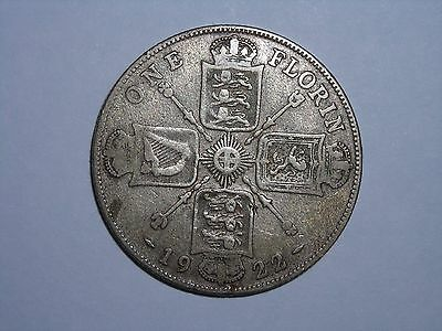 1922 Great Britain One Florin King George High Grade Silver Coin Lot #1