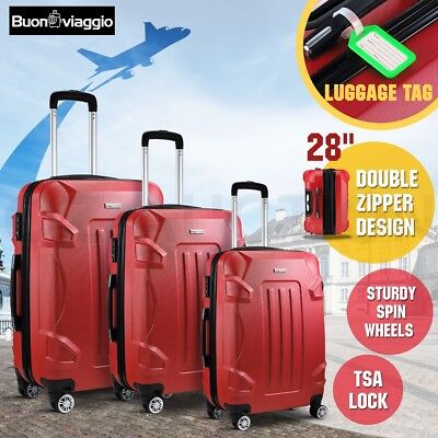 3PC Luggage Suitcase Trolley Set Hard Shell Case TSA Lightweight Spinner - Red