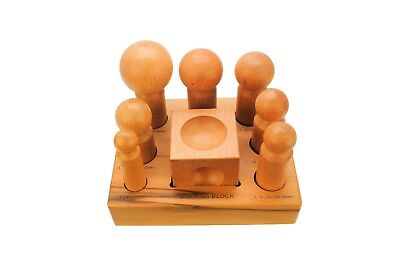 Set of 7 Wooden Dapping Punches 25.4mm - 63.5mm & Doming Block to Suit. J2097