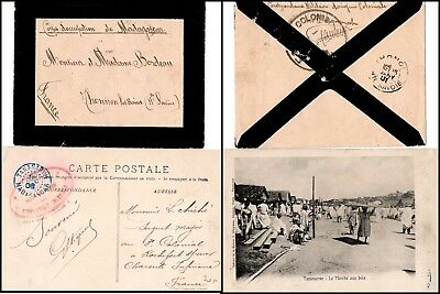 """Madagaskar: Military picture postcard from Tananarive and mourning cover """"C(065)"""