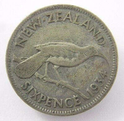 Kiwi 1934 New Zealand Silver Sixpence Coin A-306