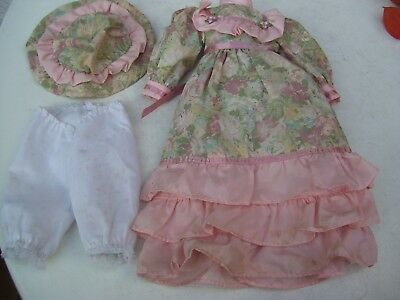 Alte Puppenkleidung PinkFlowery Dress Hat Outfit vintage Doll clothes 40 cm Girl
