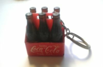 Coca Cola KEY CHAIN---Six Bottles in Carton 1 3/4 Inches Tall (1980's)