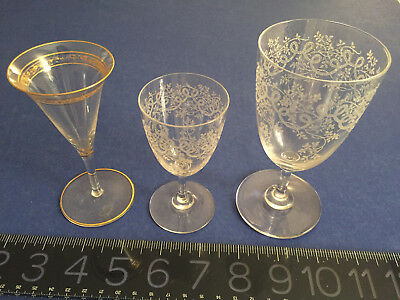 Exquisite Antique Crystal Etched glasses (2) and one very old with gilding