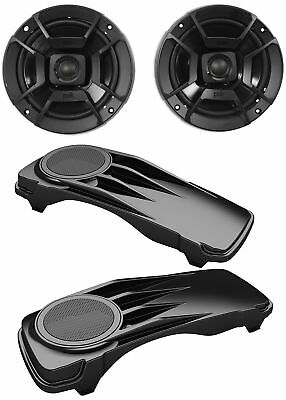 "1996-2013 Harley Davidson 6.5"" Polk Audio Speakers w/Saddle Bag Speaker Covers"