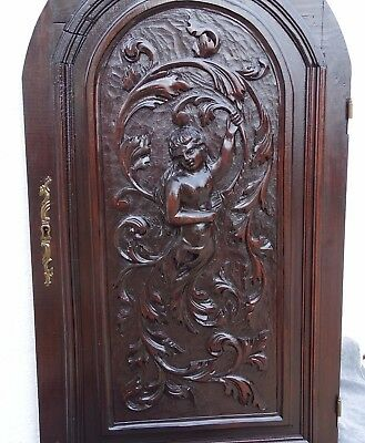 Antique French Hand Carved Large Wood Door Panel - Fantastic Creature