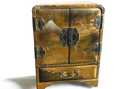 Antique Japanese Lacquer Wooden Hand Painted Box, Birds and Flowers Decorations