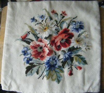 Vintage Hand Made Cross Stitch Floral Cushion Cover, Cream