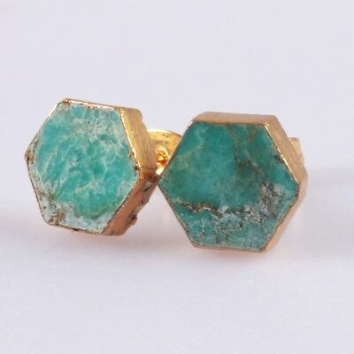 10mm Hexagon Natural Genuine Turquoise Stud Earrings Gold Plated T054508