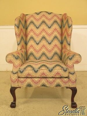 43911EC: KINDEL Model #310 Robb Collection Clawfoot Mahogany Wing Chair