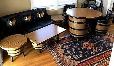 Vintage 9 pc SET Brothers Whiskey Barrel Dining Bar Poker Set ChairsTable Couch