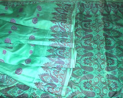 Pure silk Antique Vintage Sari HUGE VARIETY 4Y Z18 Woven Pck Green MY FAVOURITE