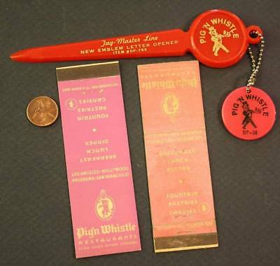 1950s California Pig 'N Whistle letter opener-TWO matchbook & keychain set-CUTE!
