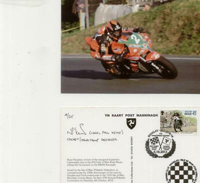 Isle of Man 2012 Pair TT postcards,one mint,one signed  designer of cachet h/s