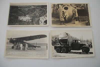 4 Real Photo Postcards National Geographic 1934 Stratosphere Flight U.S.AA Corps
