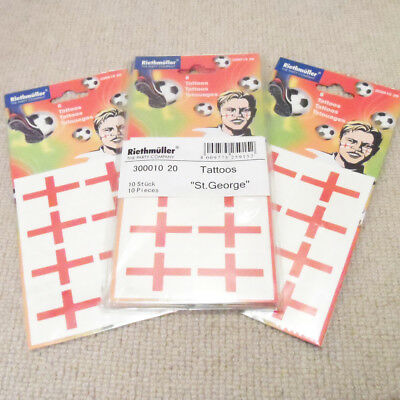 Job Lot – World Cup – 14 Sets of 8 England St George Cross Tattoos - New