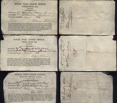 1828 ROYAL MAIL COACH OFFICE receipts, WHITE SWAN INN, Alnwick, Northumberland