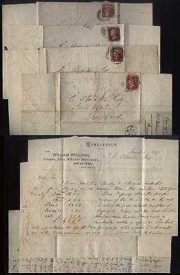 1870-71 1d reds, Four printed lettersheets William Williams, Slate, BUILTH WELLS