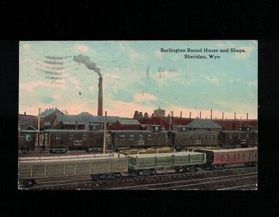 1915 Burlington Round House and Shops Sheridan Wyoming Post Card
