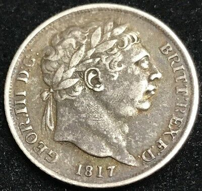 Antique Solid Silver King George III 1817 Sixpence