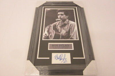 Bob Dylan singer songwriter signed framed matted 3x5 index card 11x14 photo COA