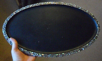 Vintage oriental Japanese mother of pearl black lacquer antique tray